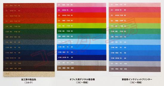 コルク印刷カラーチャート